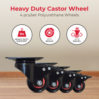 "2"" Polyurethane PU Castor Wheel set of 4 with Swivel and Brake Heavy Duty Caster"