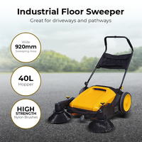 Industrial Factory Floor Sweeper Broom Walk Behind, Great for Driveways & Paths