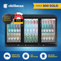 Chillmax 3-Door Matt Black Stainless Steel Bar Beer Fridge