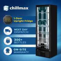 Chillmax 1-Dr Matt Black Stainless Steel Upright Bar Fridge