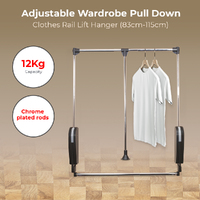 1 x Wardrobe Pull Down Adjustable Clothes Rail Lift Hanger,  83cm-115cm