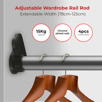 4 x Adjustable Wardrobe Rail Clothes Closet Blind Curtain Hanger,  78cm-125cm