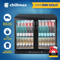 Chillmax Bar Beer Wine Fridge 2 Door Glass BLACK 208L Under Counter