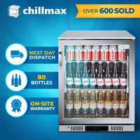 Chillmax Bar Beer Fridge 1 Door Glass FULL SS 128L Under Counter