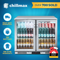 Chillmax Bar Beer Fridge 2 Door Glass FULL SS 208L Under Counter