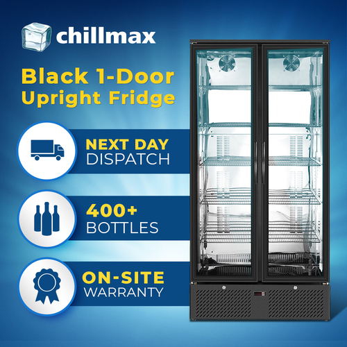 Chillmax Upright 2 door Bar Fridge BLACK