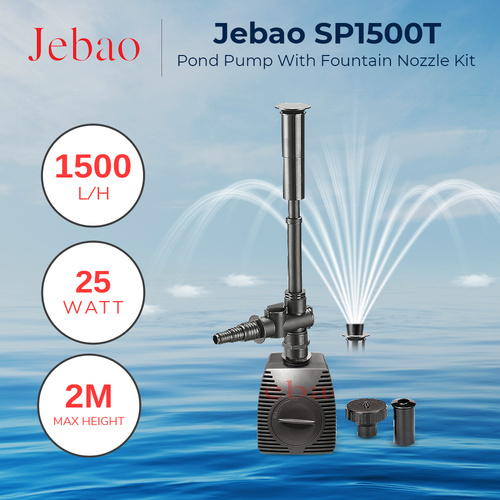 Jebao SP1500T Feature Nozzles included, 1500 L/hr Small feature or fish pond pump
