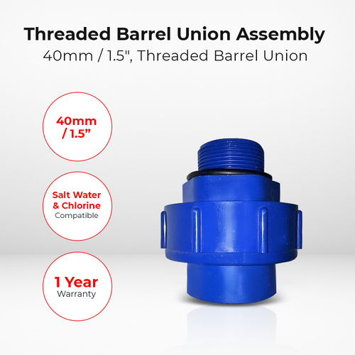 "40mm / 1.5"" BSP Threaded Barrel Union Assembly for Pool Spa Sand Filter Swimmax"