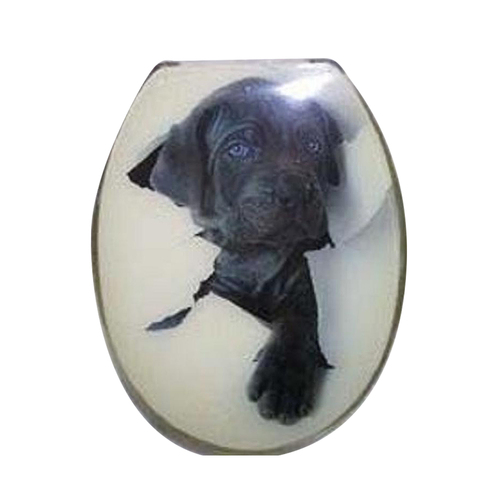Black Puppy 2pce Toilet Seat